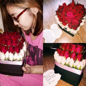 Red and White Roses in Heart Box for Valentine's Day
